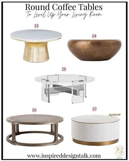 Awesome modern round coffee tables that will update your living room.  Living room decor, living room inspiration, home decor, home design, coffee table, drum coffee table, round coffee table, wood coffee table, lucite coffee table.   You can instantly shop my looks by following me on the LIKEtoKNOW.it shopping app   #LTKhome #LTKstyletip #LTKbeauty