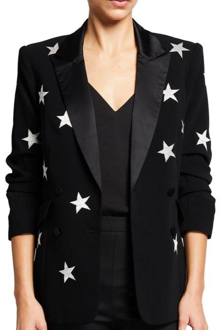 My star blazer from last year updated AND on sale! I wear this with everything. The stars on the black blazer make a basic closet staple interesting, yet wearable. Black blazer. Star blazer. Fall outfit staple. Sale alert.   #LTKstyletip #LTKsalealert #LTKworkwear