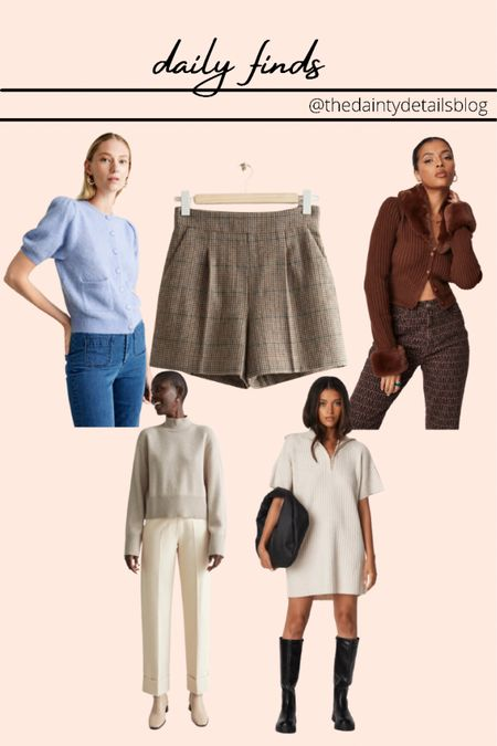 Daily finds: fall outfits, houndstooth, fall shorts, trousers, work pants, cardigan, knit dress, fall dress   #LTKstyletip #LTKunder100 #LTKSale