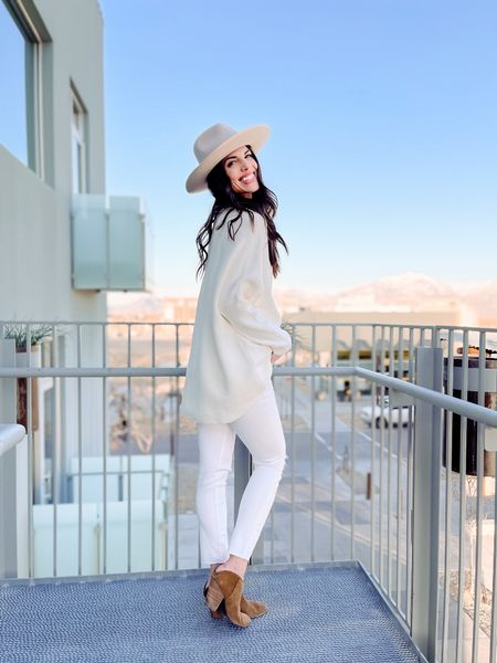 Spring Outfit | white Jeans | madewell | Gigi Pip Hat | wide brim hat | Amazon Fashion | mules | slides | Target Finds #LTKwomens  Shop my daily looks by following me on the LIKEtoKNOW.it shopping app.   #LTKSeasonal #LTKunder50 #LTKunder100