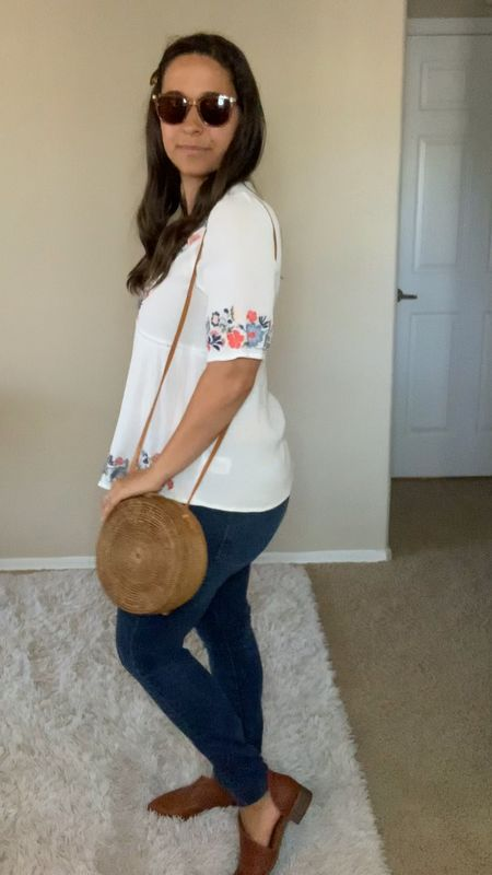 Amazon finds - sunglasses, woven purse, jeans, Target finds - embroidered top, booties  #LTKstyletip #LTKunder50 #LTKSeasonal