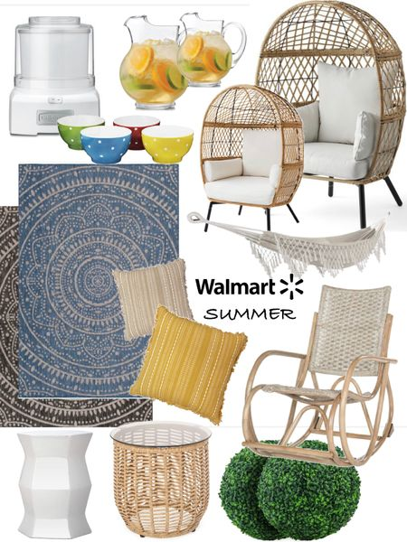 Summer patio vibes @walmart . #ad Outdoor egg chair- regular& kid size Outdoor throw pillows Ice cream maker & mini bowls  Rattan table  Garden stool Outdoor rug- three colors  Glass pitchers  Rocking chair Hammock Faux boxwood balls  http://liketk.it/3htPx @liketoknow.it #liketkit #LTKhome @liketoknow.it.home Follow me on the LIKEtoKNOW.it shopping app to get the product details for this look and others