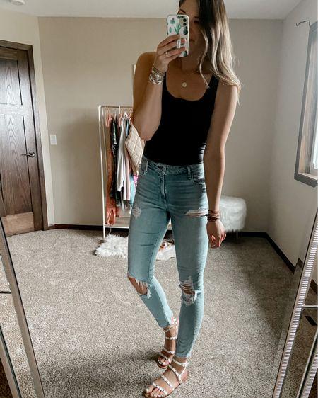 My top selling Abercrombie skinny jeans are on sale for 30% off! I wear a 31 long  Black bodysuit size large Studded sandals from Walmart for $12   #LTKstyletip #LTKsalealert #LTKunder50