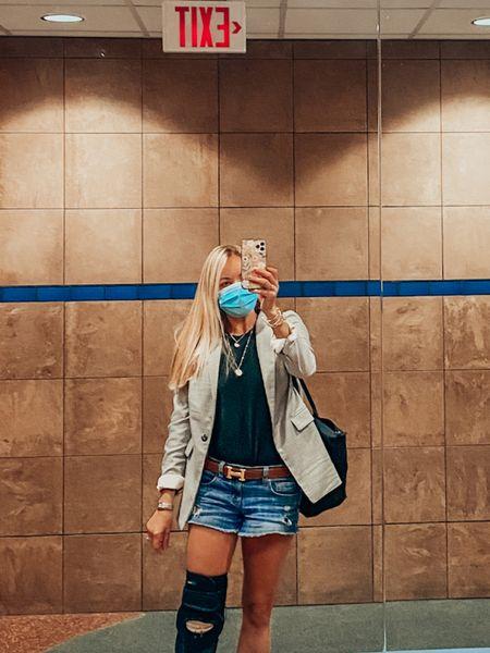 Travel outfit. When injured, wear shorts and a blazer.   #LTKtravel #LTKstyletip #LTKunder100