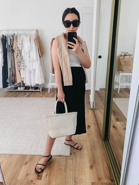 How to style a black slip skirt. Maternity outfit ideas  Tank - Everlane small Sweater - Filoro Cashmere small Skirt - Michael Stars small Sandals - Tkees 5 Bag - Club Monaco  Sunglasses - Quay   #LTKbump #LTKstyletip #LTKshoecrush
