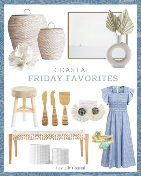 This week's Friday Favorites! Hostess gifts, summer decor, summer decorations, summer home decorations, coastal decor, beach house decor, beach decor, beachy decor, beach style, coastal home, coastal home decor, coastal interiors, coastal family room, living room decor, coastal decorating, coastal house decor, home accessories decor, coastal accessories, living room decor, neutral decor, neutral home, blue and white home, blue and white decor, summer accessories, entryway table decor, console table decor, serena & lily dupe, serena and lily dupe, marshalls home decor, marshalls finds, rattan basket decor, basket with lid, basket with top, basket with cover, handwoven baskets, woven baskets with lid, woven basket storage, rattan baskets with lid, laundry basket with lid, textured decor, decorative coral, decorative objects, pottery barn, dried palms, dried palm stems, white vase large, white vase tall, white vases decorative, white vase with palms, palm leaf, palm leaves, palm leaf stems, palm stems, stems in vase, stems home decor, bookshelf decor, dresser decor, target artwork, target home, coastal artwork, beach artwork, wall decor living room, artwork for home, sailboat art, blue and white art, affordable art, dip dyed stool, dipped stool, accent stool, small wood stool, bathroom stool, dipped leg stool, light wood stool, rattan cheese knives, statement earrings, summer accessories, summer accessories jewelry, summer earrings, etsy jewelry, blue and white earrings, raffia earrings, raffia fan earrings, kendra scott rings, kendra scott jewelry, gifts for her, gold rings, turquoise rings, amazon dresses, amazon midi dresses, affordable midi dresses, dresses with cap sleeve, dresses with ruffles, blue and white dresses, a-line dresses, dresses with pockets, dresses for moms, dresses with ruching, blue and white striped dresses, white planters, white planter pots, small white planters, textured planters, ceramic planters, woven bench, bench for end of bed, bench for 