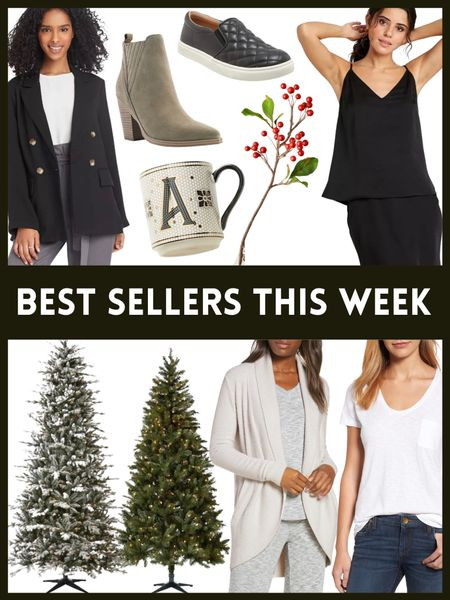 Top 10 best sellers this past week- Christmas trees , holiday decor , initial mug , cozy cardigan, layering tee, camisole , blazer , loafers and booties  #LTKSeasonal #LTKHoliday #LTKhome