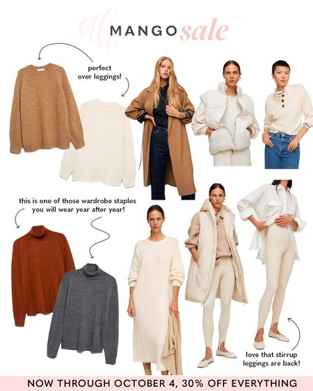 30% off everything at Mango, Fall essentials on sale, sweaters and coats on sale for fall and winter   #LTKSeasonal #LTKstyletip #LTKsalealert