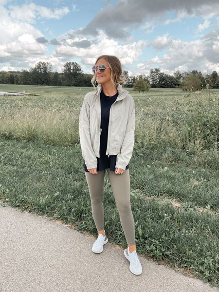 Size 4 Lululemon jacket and tee / Small Amazon leggings 🤍    #LTKshoecrush #LTKfit #LTKunder50