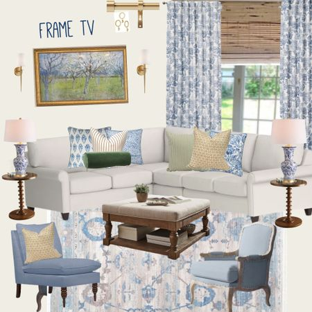 A living room for a you g family in blues and naturals with performance fabric white sectional, some chinoiserie and wood accents http://liketk.it/3j2Yw #liketkit @liketoknow.it