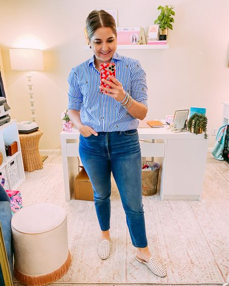 Madewell the perfect vintage jeans. High rise straight leg runs true to size. I'm wearing a size 28. A little stretch. Great to easing yourself away from your skinny jeans   #LTKDay #LTKsalealert