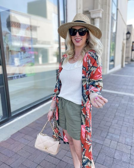 Palm print kimono 50% off, ruffle tank and $18 shorts! http://liketk.it/3hiCm #liketkit @liketoknow.it #LTKunder50 #LTKsalealert #LTKshoecrush