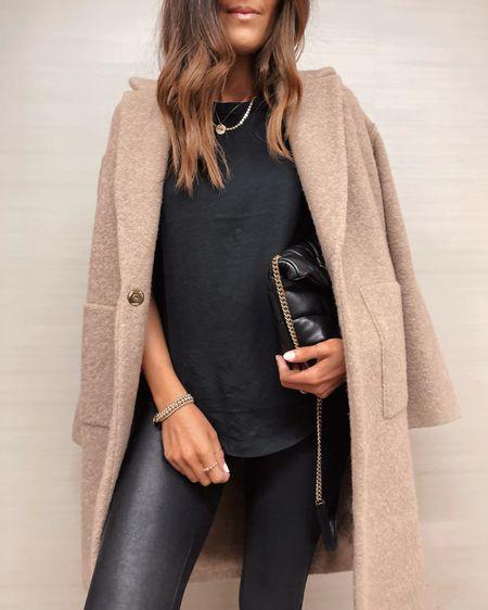 Fall style, fall coat, faux leather leggings, YSL puffer crossbody, jewelry, StylinByAylin   #LTKstyletip #LTKSeasonal #LTKunder100