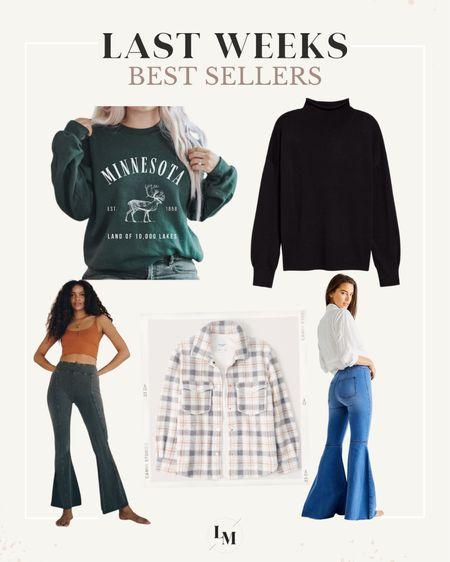 Last weeks best sellers // flare jeans from free people // state pullover from Etsy // sherpa skirt jacket // pullover   #LTKstyletip #LTKGiftGuide #LTKSeasonal