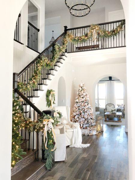 Entryway Christmas decor  Garland  Wreath Flocked Christmas tree   #LTKHoliday #LTKGiftGuide #LTKSeasonal