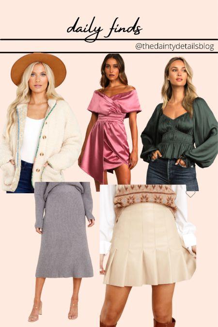 Daily finds: fall outfits, fall wedding guest dress, pleated skirt, shacket, leather skirt, knitted skirt, midi skirt  #LTKSeasonal #LTKunder100 #LTKstyletip