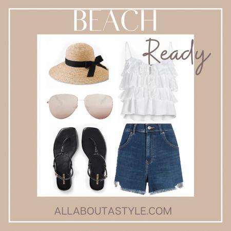Beach Ready Outfit. #highwaistedshorts #ruffledtanktop #sunglasses #sandals #summer #summerwear #summerfashion #LTKstyletip #LTKsalealert #LTKtravel @liketoknow.it #liketkit http://liketk.it/3hsZq