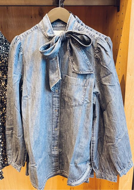 A bow on a rugged denim shirt is the cutest thing I've seen in a really long time! Ha! I can see this worn with a plaid skirt to a Christmas party, with black pants to work, or with any pair of denim.   #LTKworkwear #LTKunder100 #LTKSeasonal