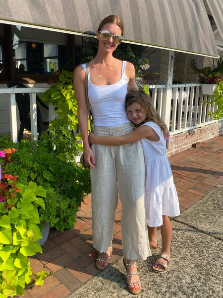 Summer outfits, girl mom, target style, linen pants, wide leg pants, beach, mom style, mommy and me, j crew, finding beauty mom   #LTKfamily #LTKkids #LTKunder100