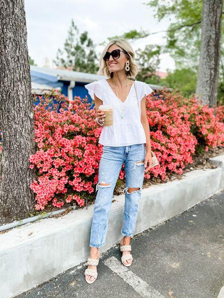 This summer look is on sale this weekend! Wearing a small in the top. Jeans runs TTS.   #LTKSeasonal #LTKsalealert