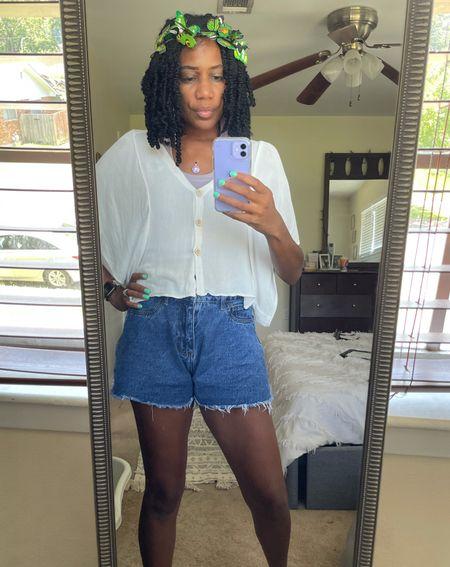 Summer style: Flowy white button down crop + Chanel necklace + Jean shorts + Butterfly headband   #LTKunder100 #LTKstyletip