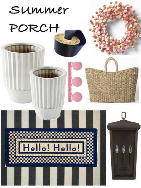 Summer front porch ideas Hanging baskets or wreaths White flower pots  Layered rugs /door Matt Front door sconces http://liketk.it/3g5bO #liketkit @liketoknow.it #LTKhome @liketoknow.it.home