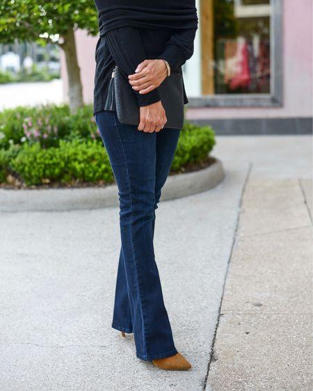 Nordstrom Anniversary sale / nsale / petite bootcut jeans (tts) / brown heels / black clutch   #LTKshoecrush #LTKunder100 #LTKsalealert