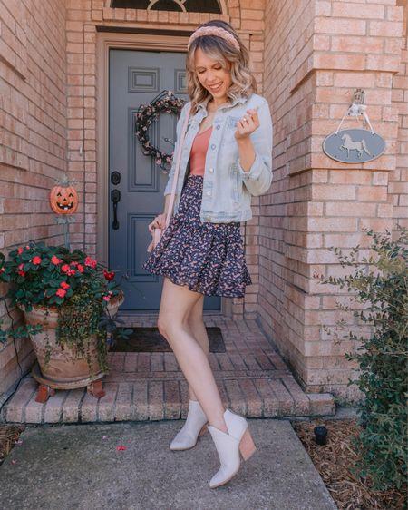Fall outfit, fall outfit idea, fall skirt, fall boots, fall booties, white boots  #LTKsalealert #LTKunder50 #LTKSeasonal