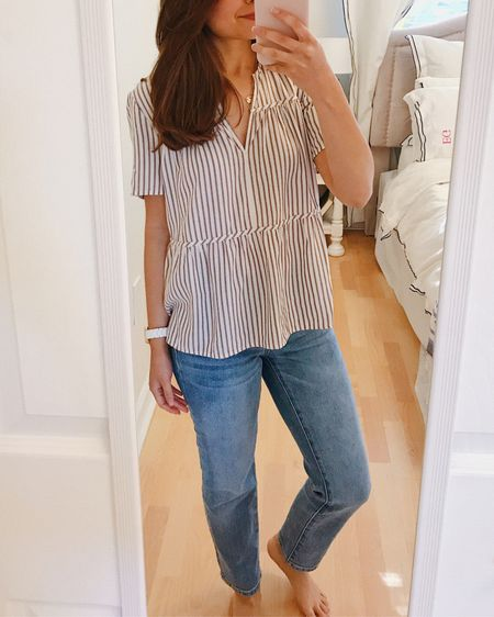 Work from home outfit. Work from home style. Spring style. Madewell striped blouse. Mom jeans.  #StayHomeWithLTK #LTKspring #LTKstyletip http://liketk.it/2Mg99 #liketkit @liketoknow.it