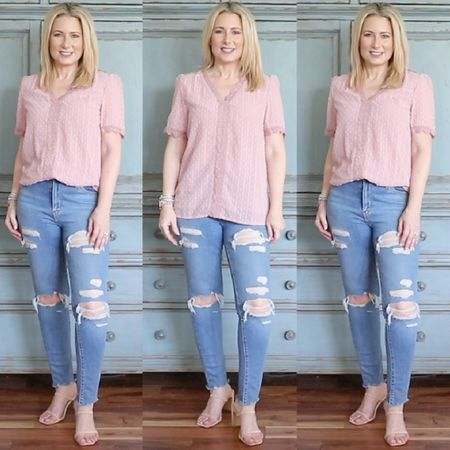 Crochet lace blouse that works with jeans, shorts, joggers and even work wear. Comes in lots of other colors and runs true to size. Wearing size small. Wear it into fall under a cardigan. Jeans run small-size up one. Wearing size 28. #amazonfashion #founditonamazon #fashionover40 #fashionover50 #over40style #casualstyle #skinnyjeans #LTKunder50 #LTKstyletip #LTKshoecrush #liketkit @liketoknow.it http://liketk.it/3jSCt