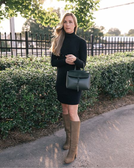sweater dress, sweater dress with knee high boots