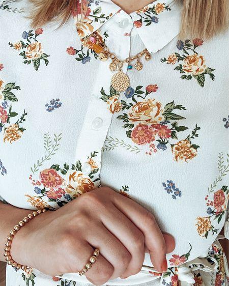 Saturday Details  Floral Dress | Beaded Ring | Fun summer golden Neclace   @liketoknow.it #liketkit #LTKunder50 #LTKstyletip http://liketk.it/3gpcJ