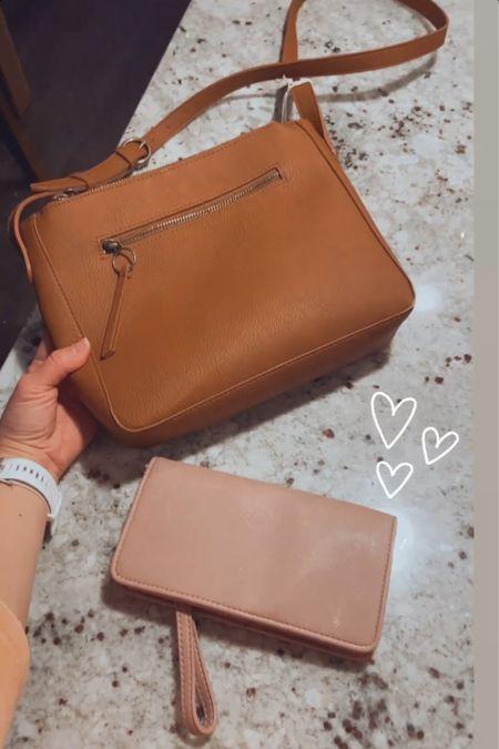 Tan crossbody purse and mauve wallet http://liketk.it/3fvY7 #liketkit @liketoknow.it