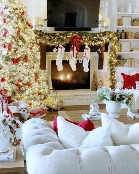 Christmas decor red and tartan ribbon Christmas tree   #LTKSeasonal #LTKhome #LTKHoliday