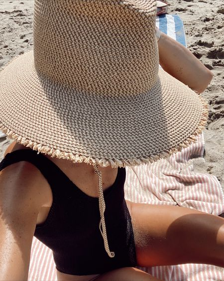 UPV50 sun hat and crinkle suit for today's beach day… //   #LTKswim #LTKsalealert