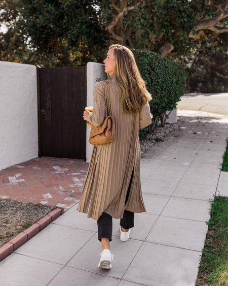 Long cardigan, white sneakers, black jeans, fall outfits, cardigan coat  Theory ribbed duster cardigan with abercrombie bodysuit, Frame jeans (old, similar linked), common projects sneakers (similar, less expensive linked), and Tory Burch bag,
