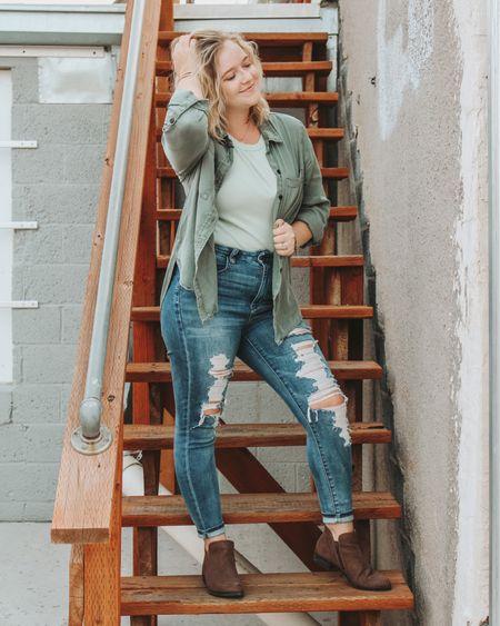 Target button down, casual fall style, fitted tank, distressed jeans, ankle boots, wrap bracelet. Dainty rings, fall style, olive green button down, casual style. http://liketk.it/2XQbn #liketkit #LTKstyletip #LTKsalealert #ltkfall @liketoknow.it