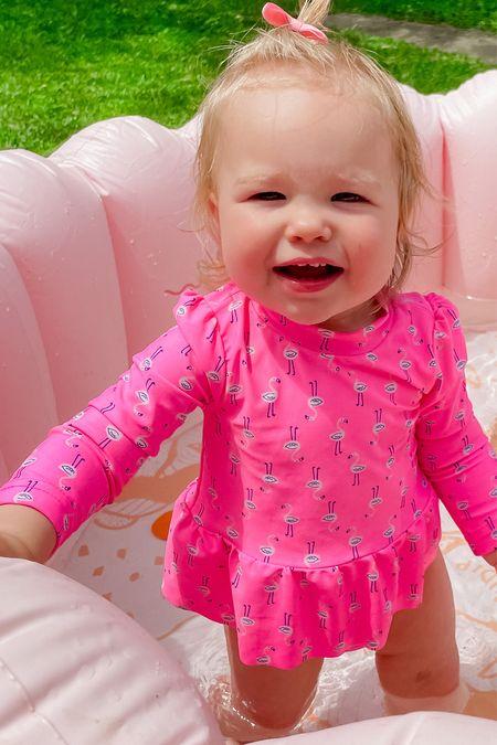 Baby girl rash guard // flamingo rash guard // baby swim // pink swim // flamingo swim // baby pool   #LTKswim #LTKkids #LTKbaby