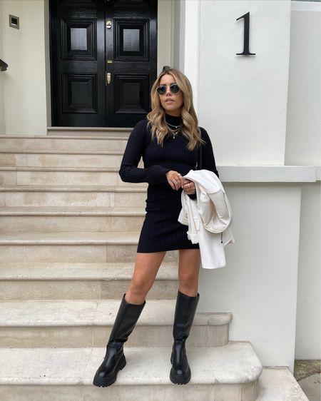 Pretty lavish Ribbed knitted black mini dress - missguided longline knee high black chunky boots - asos white oversized blazer - autumn style inspiration - autumn fashion   #LTKeurope #LTKSeasonal #LTKunder50