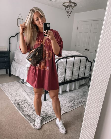 Love this oversized t shirt dress for a cool vibe! Also still living in these Converse high tops - so comfy! http://liketk.it/3iZjn #liketkit #LTKunder50 @liketoknow.it