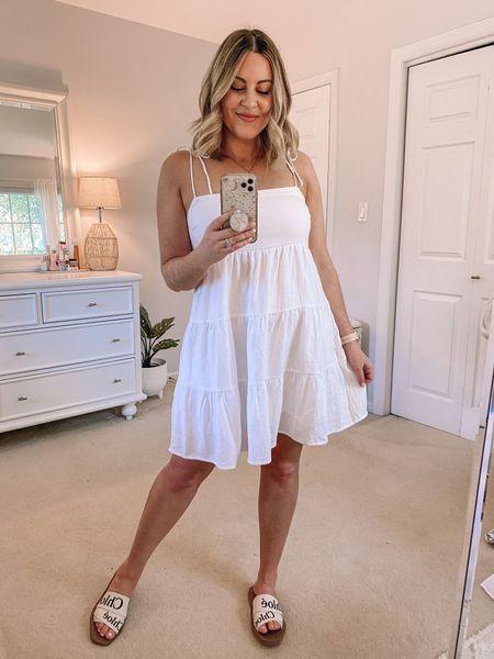 Abercrombie tiered minidress. Wearing M! • http://liketk.it/3hf3d @liketoknow.it #liketkit   White dress, summer dress, bachelorette dress, beach Dress, Vacation Dress, Summer outfit