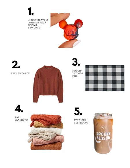 Last weeks favorites! Mickey Mouse crayon, fall sweater, checkered rug, fall blankets, and my favorite Etsy spooky season coffee cup!   #LTKGiftGuide #LTKunder50 #LTKkids