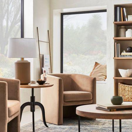 Studio McGee Target. Accent chair, table lamp, coffee table, blanket ladder   #LTKsalealert #LTKfamily #LTKhome
