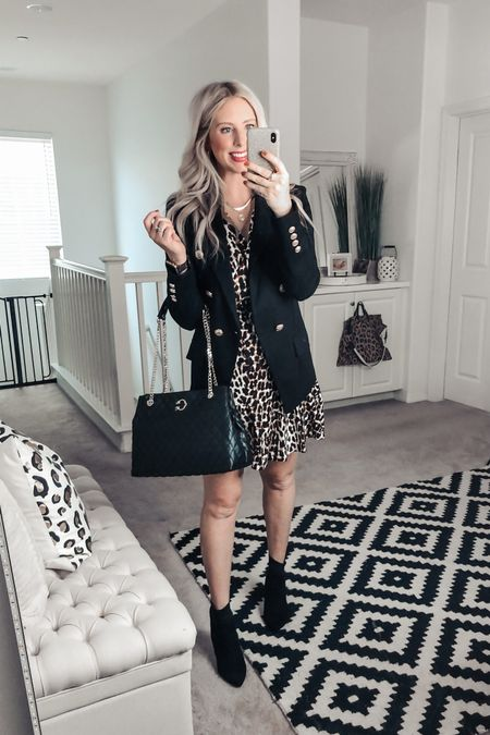 Omg! LOVE this outfit! Black blazer and leopard dress!  This black blazer has fun gold buttons and this leopard dress has ruffle details ❤️  M in both http://liketk.it/2YrxJ #liketkit @liketoknow.it #LTKsalealert #LTKunder50 #LTKstyletip