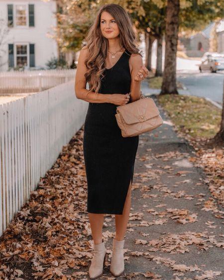 The Courtney Ribbed V-Neck Midi Dress Black, XS, TTS, cmcoving, Caitlin Covington, Pink Lily Collection, fall fashion  #LTKunder100 #LTKSeasonal