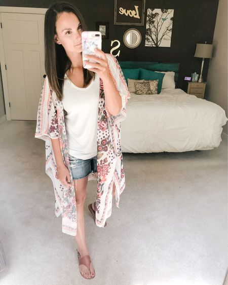 Another day, another kimono! Just another way to wear this summer trend with cutoffs and a tank!   http://liketk.it/2REys #liketkit @liketoknow.it