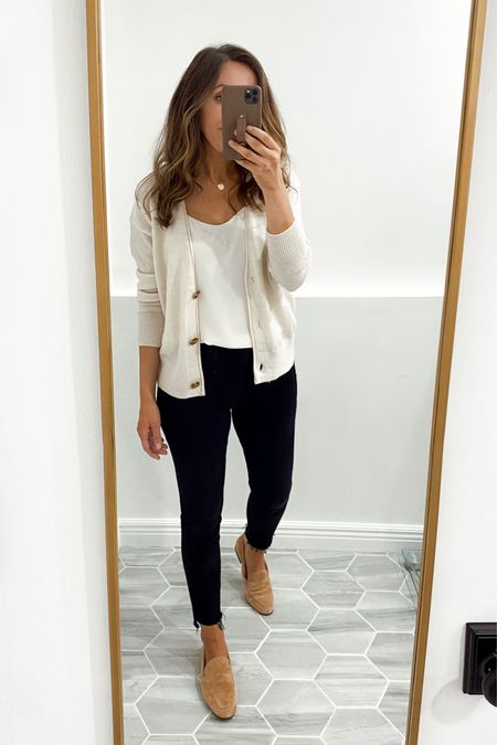 Cardigan in xs (generous fit), jeans tts. Loafers old version, linked is the updated style.