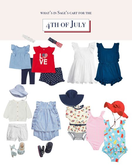 What's in Sage's Cart for the Fourth of July! ❤️🤍💙  some dresses, swimsuits, shoes, and hats from #bloomingdales #amazon #nordstrom #gap and #H&M !!   Follow me on the LIKEtoKNOW.it shopping app to get the product details for this look and others   #LTKbaby #LTKkids #LTKunder100 http://liketk.it/3iLnL #liketkit @liketoknow.it