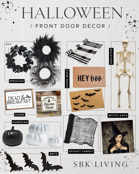 H A L L O W E E N \ Rounding up my favorite door decor for #halloween 🖤 It's an easy way to add a festive touch to your home!🧙🏻♀️  #halloweendecor #halloweenporch #halloweendoor #doordecor #fall #falldecor  #LTKHoliday #LTKSeasonal #LTKhome