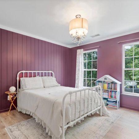 Bedroom, lights, bedding, bed, nightstand, bookshelf, curtains, curtain rod   #LTKsalealert #LTKhome #LTKGiftGuide
